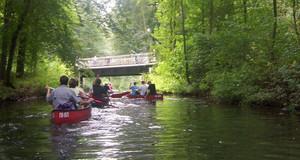 Kanus auf einem Fluß im Auwald