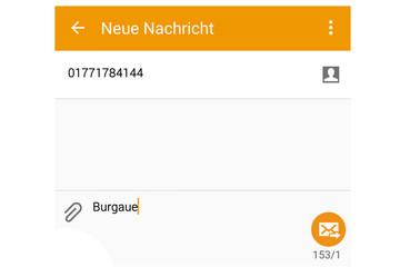Bild wird vergrößert: Screenshot einer SMS mit der Telefonnummer 01771784144 und dem Text Burgaue
