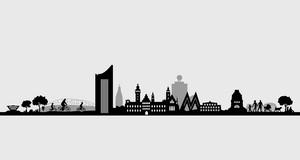 Grafik mit der Skyline markanter Leipziger Gebäude, wie dem City-Hochhaus, dem Rathaus, dem Messe-M, der Oper und dem Völkerschlachtdenkmal.