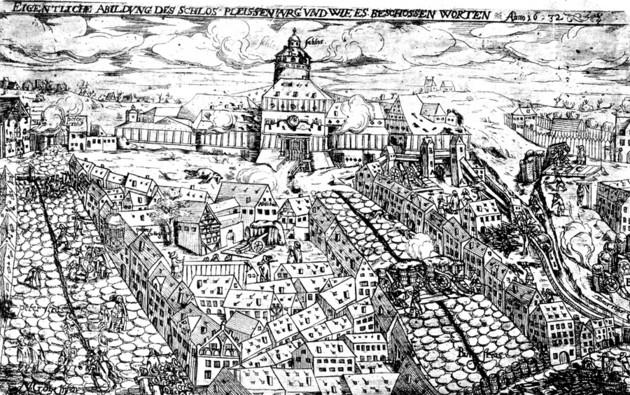 Zeitgenössischer Druck von der Belagerung der Festung Pleißenburg durch schwedische Truppen während des Dreißigjährigen Krieges, 1632.