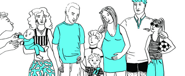 Eine Grafik in den Farben blau, schwarz und weiß zeigt eine Gruppe. Sie besteht aus zwei Männern, zwei Frauen (eine davon ist schwanger) und mehreren Kindern.