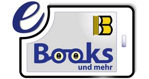 Logo der Onleihe Leipzig, Grafik von einem E-Book-Reader mit der Aufschrift E-Books und mehr