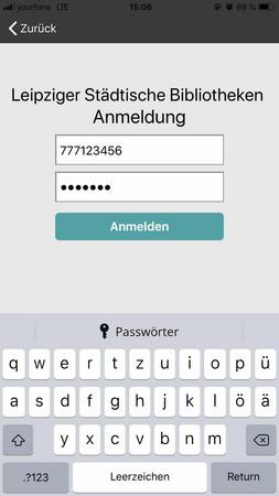 Bildschirmfoto der Anmeldung mit Benutzernummer und Passwort bei der filmfriend App
