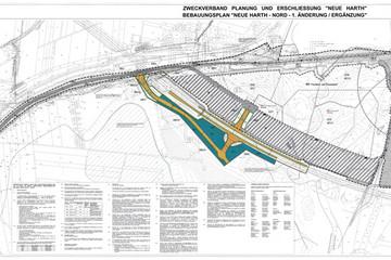 Bild wird vergrößert: Planzeichnung des Bebauungsplans Neue Harth-Nord mit 1. Änderung und Ergänzung