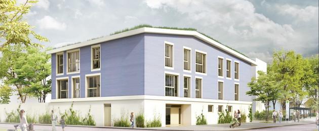 Entwurfsansicht einer dreistöckigen Kindertageseinrichtung mit begrüntem Dach.
