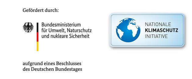 """Schriftzug """"Gefördert durch"""", darunter die Logos des Bundesministeriums für Umwelt, Naturschutz und nukleare Sicherheit und der Nationalen Klimaschutzinitiative und der Schriftzug """"aufgrund eines Beschlusses des Deutschen Bundestages"""""""