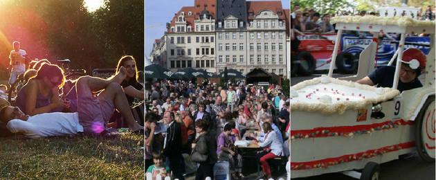 Collage mit Zuschauern beim Hörspielsommer, vielen Menschen auf dem Marktplatz bei den Markttagen und einen Seifenkistenfahrzeug.