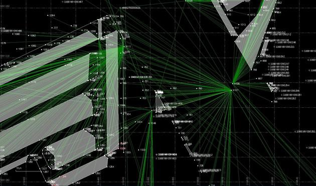 Eine schematische Darstellung mit grünen Strahlen und verschiedenen eingezeichneten Punkten mit Zahlen
