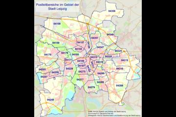 Bild wird vergrößert: Karte mit den Postleitbereichen und Postleitzahlen auf dem Gebiet der Stadt Leipzig.