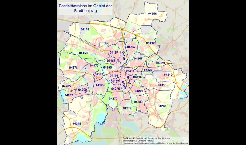 Plz Karte.Postleitzahlen Stadt Leipzig