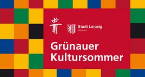 """Viele bunte Kacheln und in einem roten Rechteck der Schriftzug """"Grünauer Kultursommer"""""""