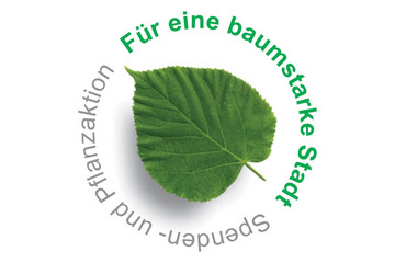Bild wird vergrößert: Logo für Pflanz- und Spendenaktion eine Baumstarke Stadt mit grünem Blatt
