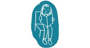 Auf türkisfarbenen Untergrund wurde kindlich abstrahiert eine Person gemalt, die auf einem Stuhl sitzt. Sie ist dem Betrachter zugewandt und hält ein aufgeschlagenes Buch in den Händen.