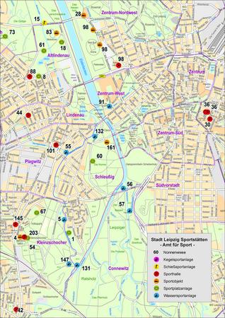 Thematische Karte auf Grundlage der Geobasisdaten - Sportstätten der Stadt Leipzig. Kartengrundlage ist der Stadtplan im Maßstab 1:21000