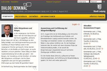 Bild wird vergrößert: Screenshot der Webseite Dialog zum Denkmal. Inhalte sind keine erkennbar.