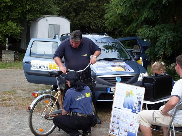 Fahrradregistrierung an einer mobilen Registrierungsstelle