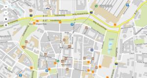 Der Stadtplan mit vielen Symbolen, zum Beispiel für Parkhäuser, Museen oder Sehenswürdigkeiten des Herbst '89