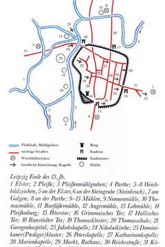 Bild wird vergrößert: Zeichnung des Leipziger Stadtplans im 13. Jahrhundert