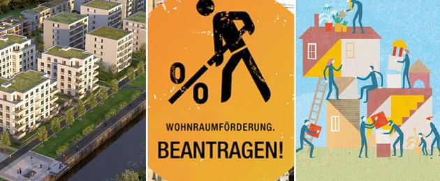 Drei Bilder von verschiedenen Baustellen in Leipzig nebeneinander: Mehrgeschossige Stadthäuser an einem Hafenbecken, Baustellenschild mit einer Strickfigur die anstatt einer Schaufel eine Prozentzahl in den Händen hält und Grafik von Menschen, die verschiedene Möbel tragen in einem Haus, das wie ein kubistisches Kunstwerk aussieht.
