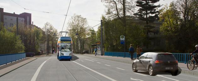 Visualisierung der Plagwitzer Brücke nach dem Neubau. Zu sehen sind Fahrbahnmarkierung und eine Straßenbahn und ein Auto auf der Straße.