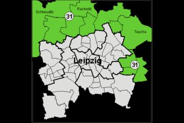 Bild wird vergrößert: Farbige Grafik der Leipziger Landtagswahlkreise 2006