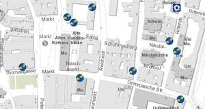 Ausschnitt eines Stadtplans mit eingezeichneten Orten der Hilfepunkte