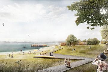 Bild wird vergrößert: Künstlerische Darstellung mit Strand, Holzsteg, Badegästen und Seedorf