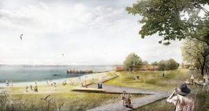 Künstlerische Darstellung mit Strand, Holzsteg, Badegästen und Seedorf