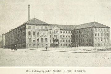 Bild wird vergrößert: schwarz-weiß Skizze eines großen historischen Fabrikgebäudes mit Schornstein