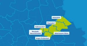 Karte mit den Umrissen der Leipziger Ortsteile. Hervorgehoben sind Neustadt-Neuschönefeld, Anger-Crottendorf, Volkmarsdorf, Sellerhausen-Stünz, Paunsdorf und Heiterblick.
