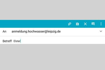 Bild wird vergrößert: Screenshot einer E-Mail mit der Adresse anmeldung.hochwasser@leipzig.de und dem Betreff Elster