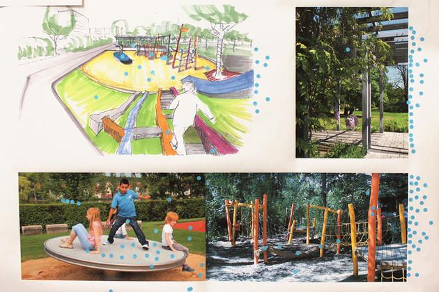 Plakat mit Vorschlägen zur Gestaltung des Mehrgenerationenplatzes in Grünau Ost
