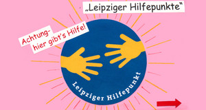 Logo des Leipziger Hilfepunkts: Blauer Punkt und gelbe Hände - umgeben von Sonnenstrahlen.