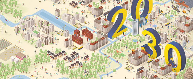 Gezeichnete Stadtlandschaft mit Gebäuden, Gewässern, Menschen, Grünflächen und sonstigen urbanen Elementen, die Leipzig auszeichnen.