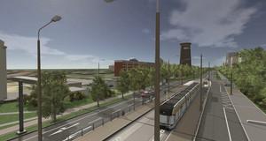 Computervisualisierung einer Straßenbahnhaltestelle neben einer Straße