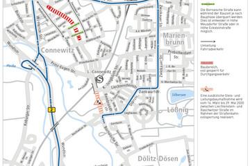 Bild wird vergrößert: Eine Straßenkarte mit unterschiedlich farbigen Linien, die die Umleitungsstrecken markieren