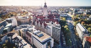 Luftaufnahme der Leipziger Innenstadt mit Neuem Rathaus und Stadthaus