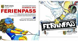 Grafikmotive aus dem Sommer- und Winterferienpass. Löwe fährt Wasserski und Snowboarder
