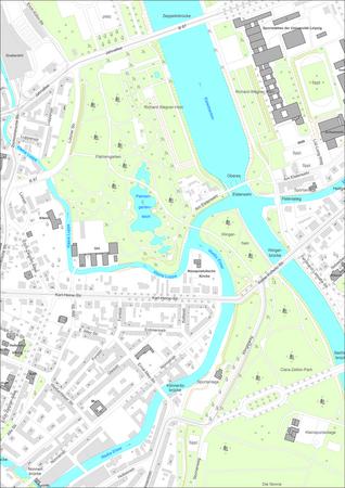 Ausschnitt aus der digitalen Stadtkarte Leipzigs