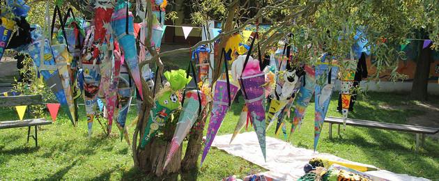 Mehrere Zuckertüten für Schulanfänger hängen an einem Baum