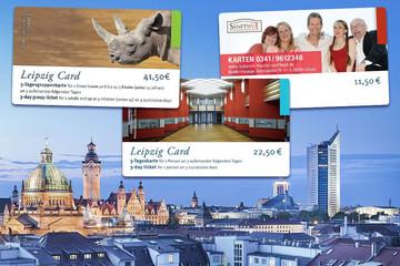 Bild wird vergrößert: Silhouette Leipzigs mit drei verschiedenen Leipzig Cards (Angebotskarten)