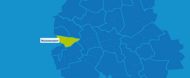 Karte mit den Umrissen Leipziger Ortsteile. Rückmarsdorf ist hervorgehoben.