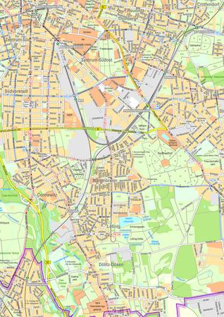 Stadtplan mit Straßenbahn- und Busliniennetz der Stadt Leipzig