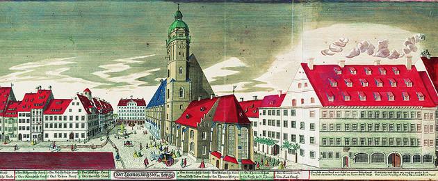 Thomaskirchhof mit Kirche, Schule und Amthaus, 1749, kolorierte Radierung von Johann Georg Schreiber