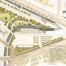 Entwurfsplan, der den Verlauf des Pleißemühlgrabens im historischen Flussbett in der Draufsicht zeigt