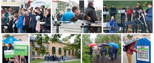 Fotomontage mit Besuchern der verschiedenen Veranstaltungen des Tages der Städtebauförderung 2019, bei Rundgängen, beim Lesen von Informationsbroschüren.