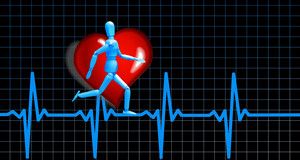 Kurve eines Herzschlages und eine darauf laufende Figur