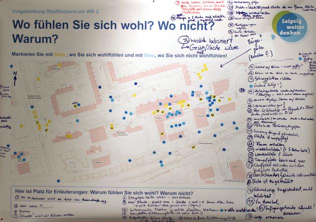 Karte auf der Teilnehmer einer Veranstaltung ihre Wohfühlorte in Grünau-Ost eingezeichnet haben