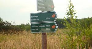 Wegweiser für Wanderungen an einem Holzpfahl. Auf den Schildern ist ein Hase zu sehen und Entfernungsangaben.