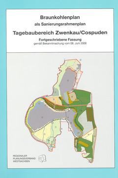 Bild wird vergrößert: Deckblatt des Braunkohlenplans Zwenkau-Cospuden mit Plandarstellung